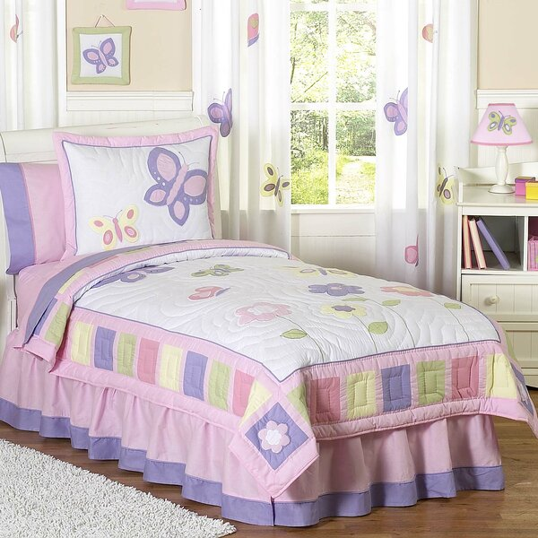 Butterfly 100% Cotton 4 Piece Twin Comforter Set by Sweet Jojo Designs